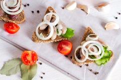 Sandwichs avec des harengs et une branche de tomat de cerise Photos stock