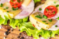 Sandwichs avec du fromage, la dinde, la laitue et la tomate Images stock