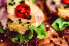 Sandwichs avec du fromage, la dinde, la laitue et la tomate Photographie stock libre de droits