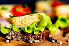 Sandwichs avec du fromage, la dinde, la laitue et la tomate Image stock