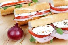 Sandwichs avec du jambon et le mozzarella de tomate Photographie stock