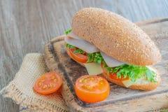Sandwichs avec du jambon, tomates, hamburger de fromage photographie stock
