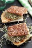 Sandwichs avec la dinde, le fromage, et les pousses grillés de poireau Photographie stock