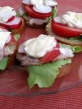 Sandwichs avec la mayonnaise Photographie stock libre de droits