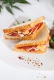 Sandwichs avec la saucisse et le fromage images libres de droits
