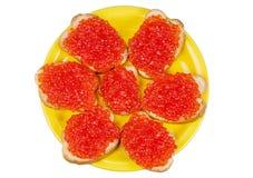 Sandwichs avec le caviar rouge Photographie stock libre de droits