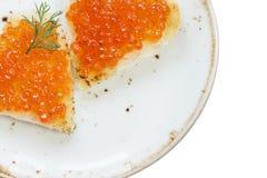 Sandwichs avec le caviar rouge Photo libre de droits