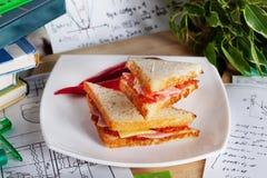 Sandwichs avec le déjeuner d'étudiant de saucisse et de fromage image libre de droits