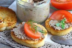 Sandwichs avec le pâté Images libres de droits