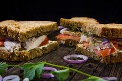 Sandwichs avec le poulet, la sauce et les légumes Photographie stock libre de droits