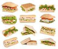 Sandwichs d'isolement sur le blanc Photos stock