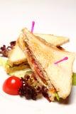 Sandwichs d'une plaque rouge Photographie stock libre de droits