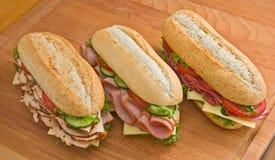 Sandwichs de la Turquie, au jambon et au salami Image libre de droits