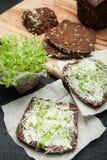 Sandwichs de pain noir de grain et des verts micro dans un style rustique image libre de droits