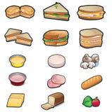 Sandwichs et ingrédients réglés Photographie stock libre de droits