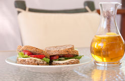 Sandwichs et thé glacé Photo libre de droits