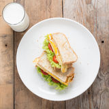 Sandwichs fried egg with cheese and milk. Royalty Free Stock Photography