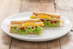 Sandwichs fried egg with cheese. Royalty Free Stock Image