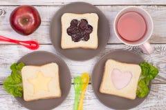 Sandwichs mignons pour des enfants Images libres de droits