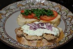 Sandwichs rustiques avec du porc et tomates et tzatziki image libre de droits