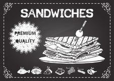Sandwichs tirés par la main sur le tableau avec le label de la meilleure qualité de qualité illustration de vecteur