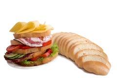 Sandwichzusammensetzung auf einem weißen Hintergrund Stockfotografie