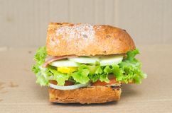 Sandwish met verscheidenheden van veggetables en ham Royalty-vrije Stock Afbeelding