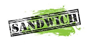 Sandwich black and green stamp on white background Royalty Free Stock Photos