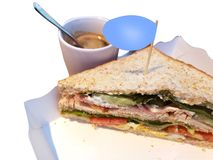 Sandwitch and coffee for snack and breakfast concept royalty free stock images