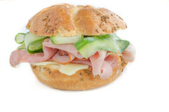 Sandwitch with prag ham, cucumber Royalty Free Stock Photography