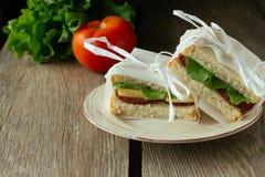 Sandwitches con el salami Foto de archivo libre de regalías