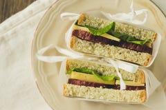 Sandwitches con el salami y el queso Fotografía de archivo libre de regalías
