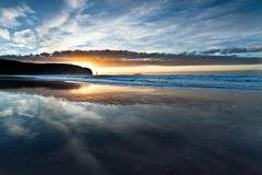 Sandwood Bay Beach over sunset. One of wildest places in Scotland stock photos