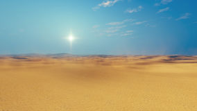 Sandy african desert daytime. Barren lands of sandy african desert at sultry day with haze and sun disk on horizon. 3D illustration was done from my own 3D Stock Image
