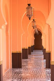Sandy arabic morrocco style corridor background. Orange sandy arabic morrocco style corridor background Royalty Free Stock Images
