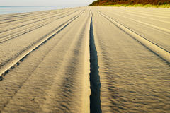 Sandy Baltic beach after maintenance activities with line pattern in the sand. Stock Photo