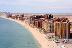 Sandy Beach. Aerial view of Sandy Beach, Rocky Point, Puerto Penasco, Sonora, Mexico Stock Photo