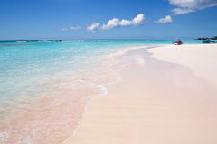 Sandy beach. At the Barbados island stock images