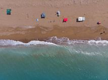 Sandy beach from above, Peloponess - Greece. royalty free stock photography
