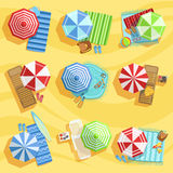 Sandy Beach From Above With Umbrellas And Sunbeds Royalty Free Stock Photos