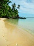 Sandy beach along Lavena Coastal Walk on Taveuni Island, Fiji. Stock Photo