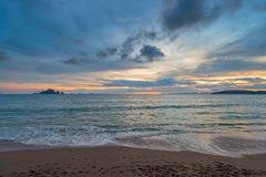 Sandy beach, Andaman Sea and a beautiful landscape Royalty Free Stock Image