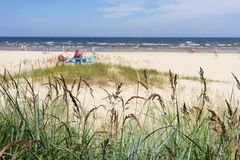 The sandy beach of the Baltic Sea on a summer day season Stock Photography