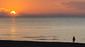 Sandy beach of the Baltic Sea during sunset Stock Photography