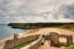 Sandy beach at Barafundle Bay, Pembrokeshire. Royalty Free Stock Images