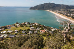 Sandy beach at Bay of Plenty. Aerial view of sandy beach at Bay of Plenty, New Zealand Royalty Free Stock Images