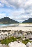 Sandy beach bay with rocks on Lofoten, Nordland, Norway stock photo