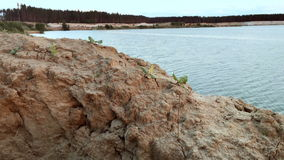 Sandy Beach beautiful Lake. Sandy Beach beautiful Blue Lake stock footage