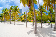 Sandy beach at Bicentennial park in Miami Stock Images