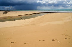 Sandy beach with blue sky and clouds. Sandy beach with blue sky and the clouds Stock Images